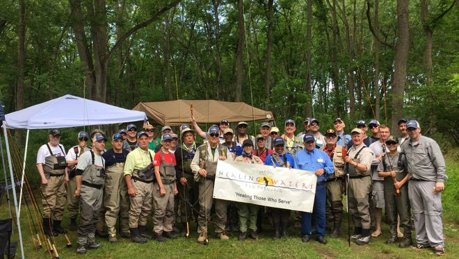 Veterans and volunteers involved with Project Healing Waters Fly Fishing met up with the Musconetcong Trout Club to fly fish on the Musconetcong River Saturday.