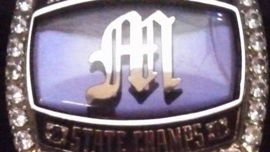 A Mitchell state-championship ring from 2014.
