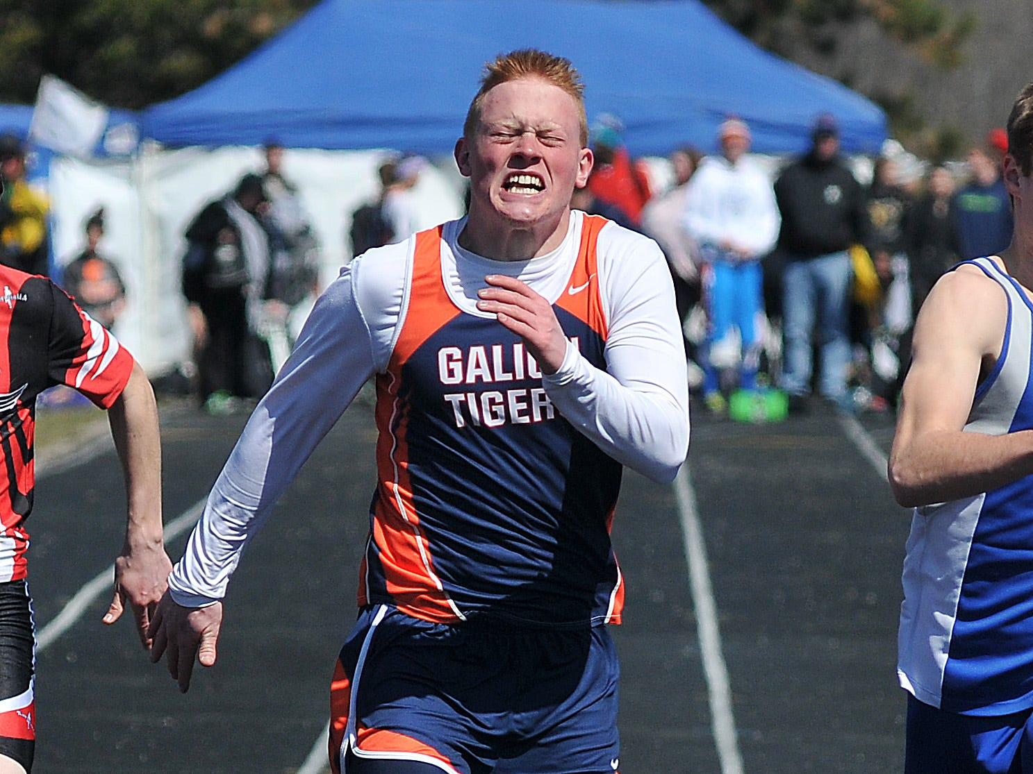 Galion's Jacob Fryer nears the finish line of the Boys 100 Meter Dash during the Bucyrus Elks 156 Track Invitational Saturday at Bucyrus High School.