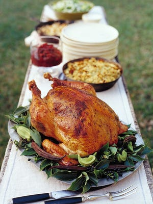 Herb-roasted turkey with pan gravy, as seen in 'Martha Stewart Living.'