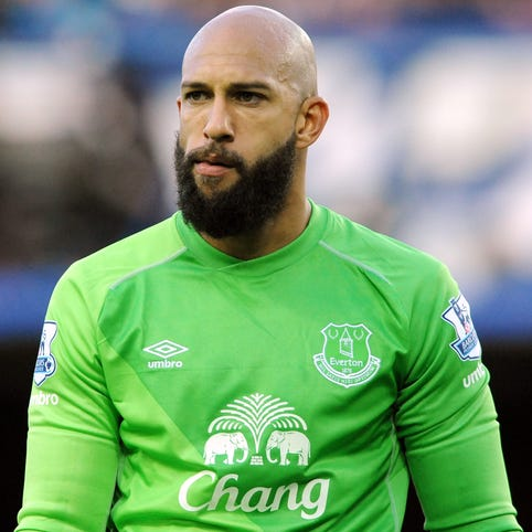 Everton's Tim Howard during the English Premier League soccer match between Everton and Arsenal.