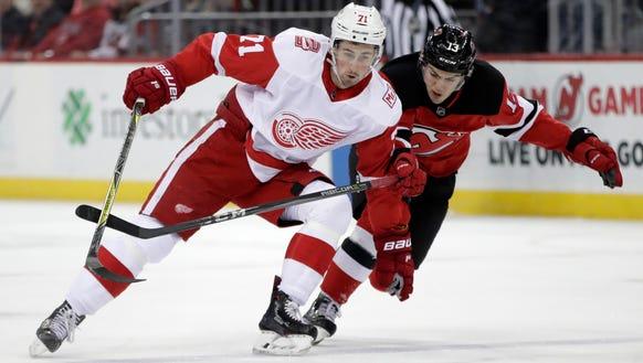 Detroit Red Wings center Dylan Larkin (71) skates against