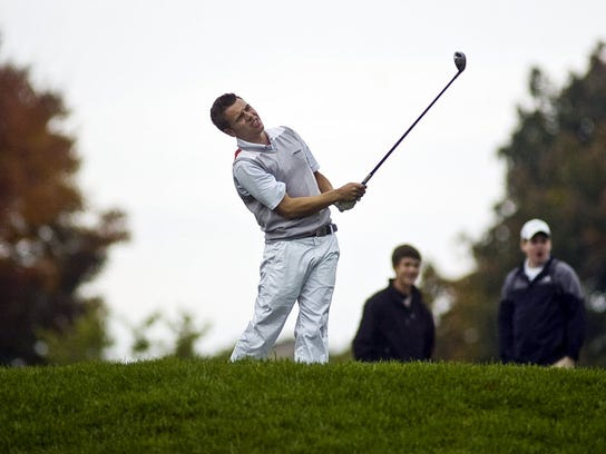 Dallastown's Brandon Greenplate watches his tee shot on the eighth hole during the final round of last year's PIAA Golf Championships at Heritage Hills Golf Resort. (GAMETIMEPA.COM -- FILE)