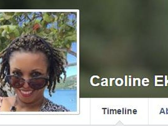 The Facebook profile of Dr. Caroline Ekong is shown.