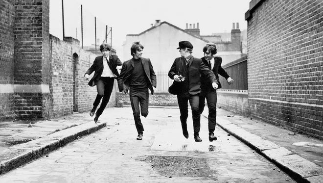 "The Beatles – Paul McCartney (from left), George Harrison, Ringo Starr and John Lennon – star in Richard Lester's ""A Hard Day's Night."""