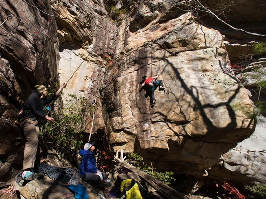 Hannah Romano of Asheville tackles a climbing route