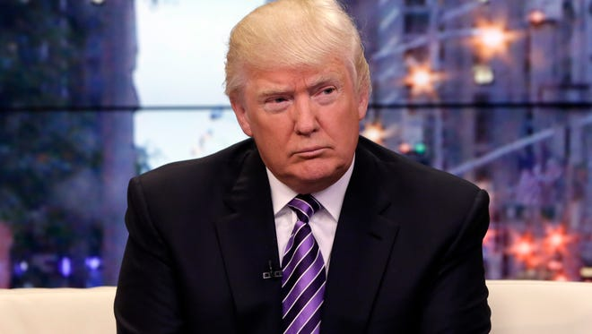 "FILE - This Sept. 16, 2013 file photo shows Donald Trump appears on the ""Fox & friends"" television program in New York."