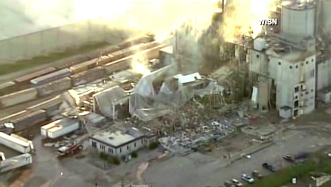 In this image taken from a video by WISN-TV, the rubble of a corn mill plant following an explosion is seen, Thursday, June 1, 2017, in Cambria, Wis. The sheriff in Columbia County said that the blast was reported around 11 p.m. Wednesday at the Didion Milling Plant in Cambria, about 80 miles northwest of Milwaukee. (WISN-TV via AP)
