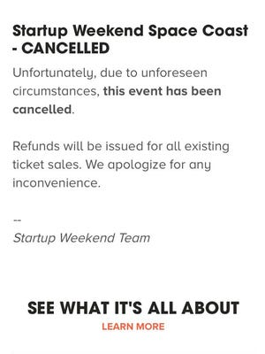 Screenshot of cancellation notice for Startup Weekend Space Coast.