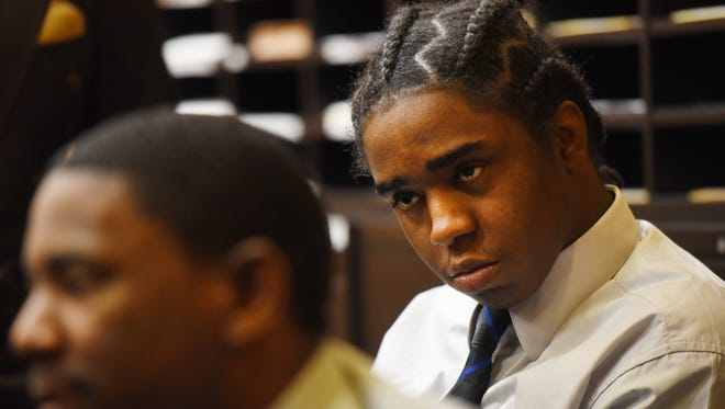 Jeffrey Ellerbee (foreground) and Jhymiere Moore (rear), who were two of three defendants on trial in the shooting death of 12 year-old Genesis Rincon, who was shot to death while riding her scooter to a holiday party, are seen here in this Nov. 16, 2016 during their trial.