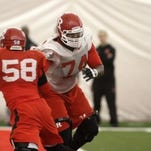 Rutgers left tackle Keith Lumpkin (74) and defensive end Kemoko Turay (58) will play big roles on opposite sides of the line of scrimmage.(Photo: File photo)