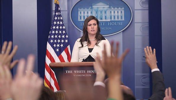 White House deputy press secretary Sarah Huckabee Sanders, speaks during press briefing on May 11 in Washington, D.C.