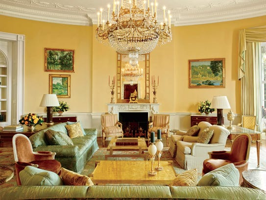 Another view of the yellow oval room in private quarters
