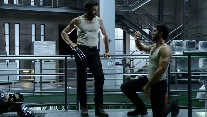 Stunt double Daniel Stevens, right, works with Hugh Jackman on the set of 'The Wolverine.'