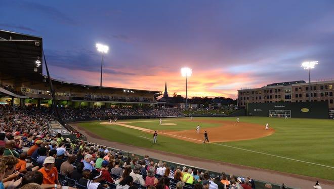 Fluor Field on a June evening.