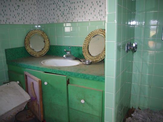 The bathroom in the tiny house.