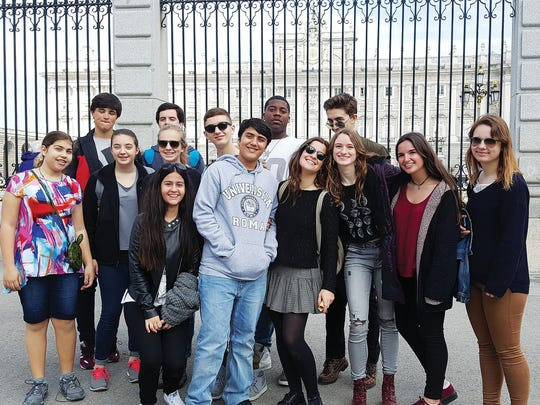 Students at The Hudson School visit the Royal Palace in Madrid.