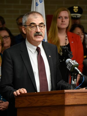 Chancellor of the Minnesota State Colleges and Universities system Steven Rosenstone talks about the loss of St. Cloud State University President Earl H. Potter III during a press conference Tuesday, June 14, at St. Cloud State University.