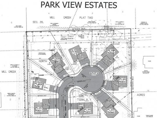 A site map of the proposed Park View Estates development
