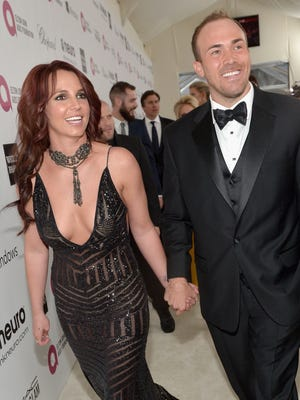 Britney Spears and David Lucado attend Neuro at the 22nd Annual Elton John AIDS Foundation Academy Awards Viewing Party at The City of West Hollywood Park on March 2, 2014 in West Hollywood, California.