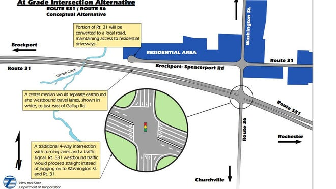 The state Department of Transportation's preferred alternative for reconstructing the terminus of Route 531 in Sweden.