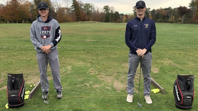 Gavin Graybill, left, and Jack Daly will conclude standout careers at Hanover High when they compete in the Patriot League championship on Tuesday, Nov. 3, 2020. Here they are pictured at their home course of Harmon Golf Club in Rockland. Contributed photo