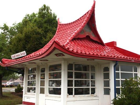 Pagoda-style gas station