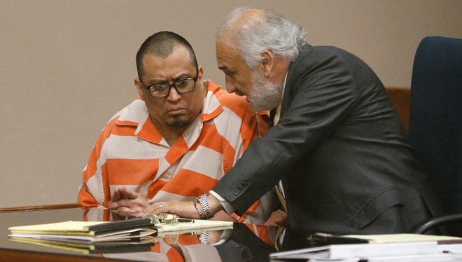 Luis Javier Solis-Gonzalez had a motion-to-suppress hearing before 243rd District Court Judge Luis Aguilar in which he and his lawyer, Joe Spencer, were attempting to throw out a confession he gave to police. Solis-Gonzalez was charged in the slayings of his estranged wife, Marysol Saldivar, 34; her boyfriend, Eric DeSantiago, 42; and her daughter, Cassaundra Holt, in May 2012.
