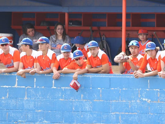 The San Angelo Central High School baseball team looks on from the dugout during a 12-3 win against Killeen Shoemaker in a District 8-6A game at Nathan Donsky Field on Tuesday, April 24, 2018.