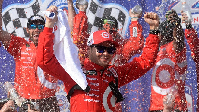 Kyle Larson leads the Monster Energy NASCAR Cup Series standings through eight races.