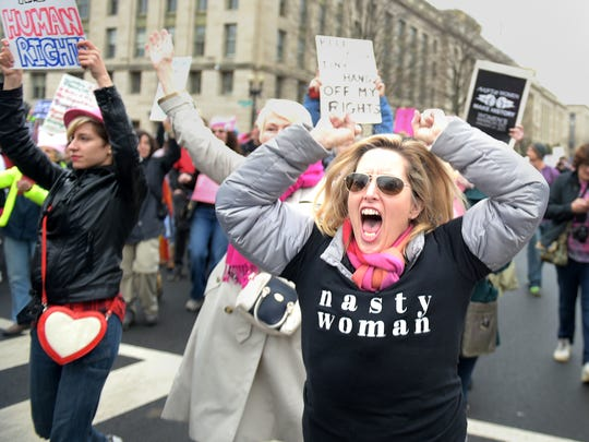 Protestors march in the Women's March in Washington, D.C. on Saturday, Jan. 21, 2017.  The march drew 440,000 to 500,000 people, and worldwide participation has been estimated at five million.