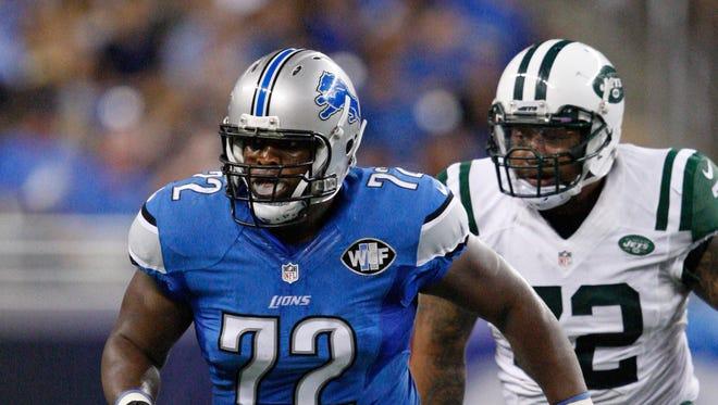 Aug 13, 2015; Detroit, MI, USA; Detroit Lions offensive guard Laken Tomlinson.