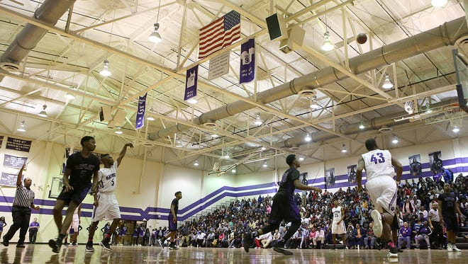 Haywood's Shurayveun Hines (5) watches his shot attempt versus Ripley at Haywood High School in Brownsville on Feb. 10, 2017.