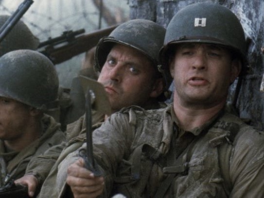 "Tom Hanks in a scene from the movie ""Saving Private"