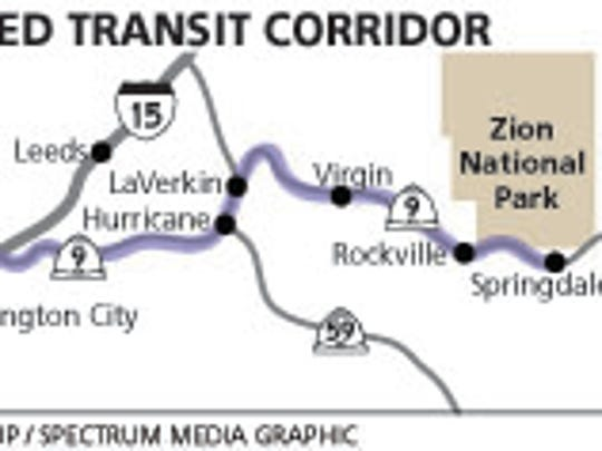 The proposed transit corridor between St. George and Zion National Park.