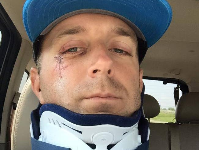 WTVF-5 sports anchor Steve Layman will have to wear a neck brace for six months after being involved in an automobile accident.