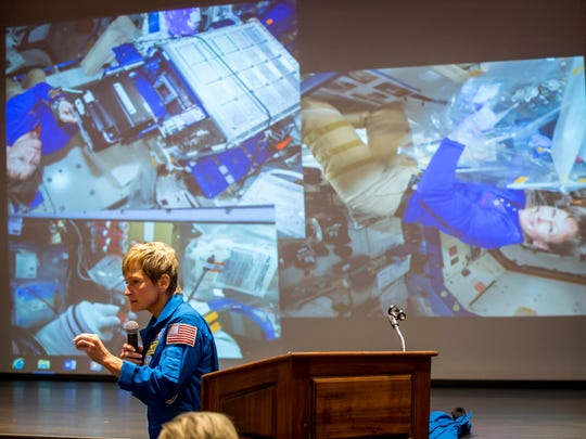 Peggy Whitson, astronaut, speaks to students at Mt. Ayr High School Auditorium Thursday, Dec. 7, 2017, in Mt. Ayr, Iowa. She graduated from Mt. Ayr in 1978.