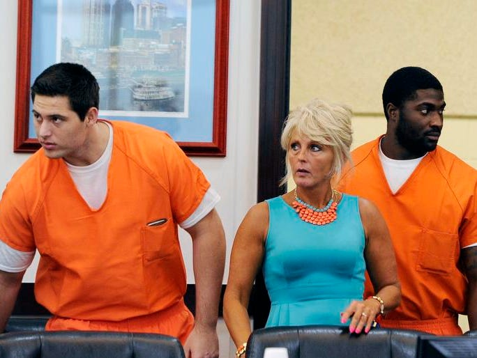 Former Vanderbilt University football players Brandon Vandenburg, left, and Cory Batey, middle, appeared in court today with their defense attorneys to ask for a mistrial after learning that a juror did not disclose during jury selection he was a victim in a statutory rape case in Sumner County in 2000. The hearing was heard in front of Criminal Court Judge Monte Watkins on Monday, June 15, 2015, in Nashville.