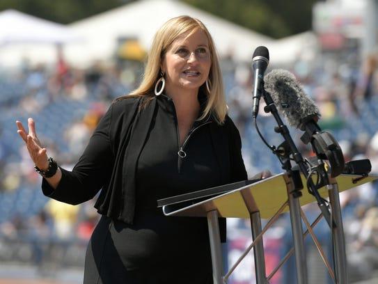 Nashville Mayor Megan Barry speaks to the crowd at