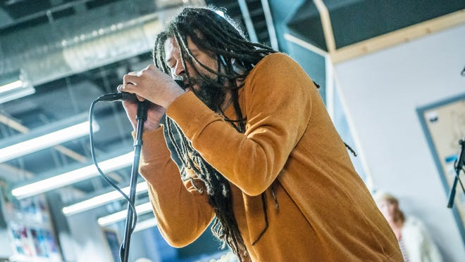 """Russell Johnson performs with Birdmen of Alcatraz Feb. 1, 2018, as part of """"Dogfish Head Brewery presents IndyStar Sessions at Square Cat Vinyl."""""""