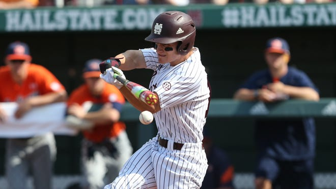 Mississippi State's Jake Mangum has been playing with a broken hand.