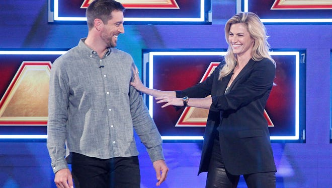 THE $100,000 PYRAMID - Airdate: June 25, 2017 - Michael Strahan hosts a new version of the classic game show, THE $100,000 PYRAMID, airing SUNDAYS (9-10PM, ET) on the ABC Television Network. Aaron Rodgers competes against Erin Andrews with contestants Curtis Reed and Brooke Snell. 