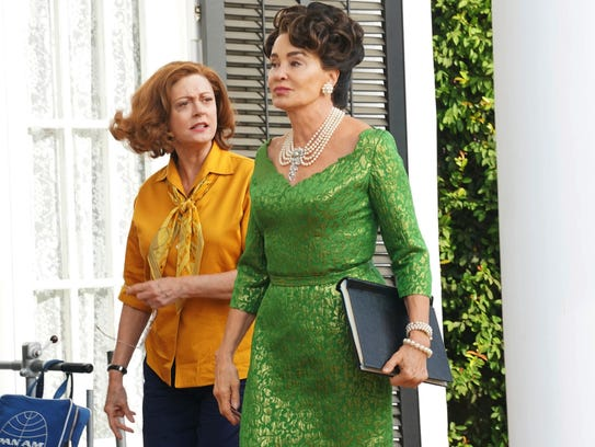 Susan Sarandon as Bette Davis, left, and Jessica Lange
