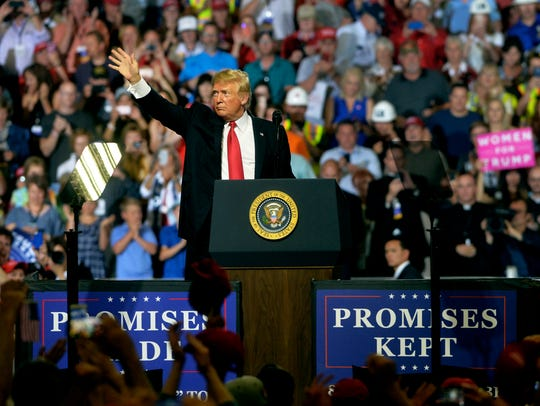 President Donald Trump visits Great Falls for a campaign rally in the Four Seasons Arena on Thursday, July 5.