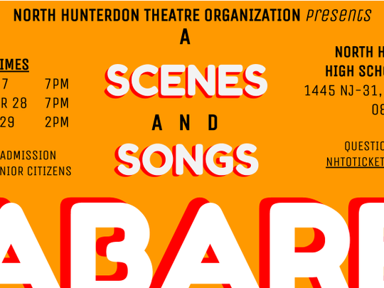 A Scenes and Songs Cabaret coming to North Hunterdon High School April 27 to 29!
