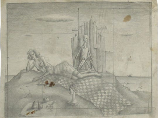 This preparatory sketch shows the design for his painting of a reclining woman with a skeleton.