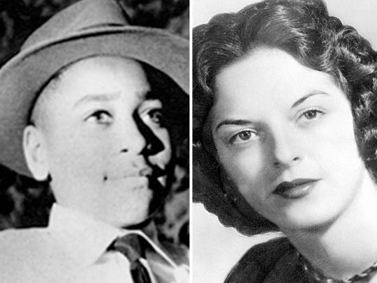 These are file photos of Emmett Till and Carolyn Bryant Donham. She has been at the center of Till's story he was murdered in Mississippi in 1955. The FBI is now reexamining the killing, and she remains the lone living suspect. A majority-black grand jury declined to indict her in 2007.
