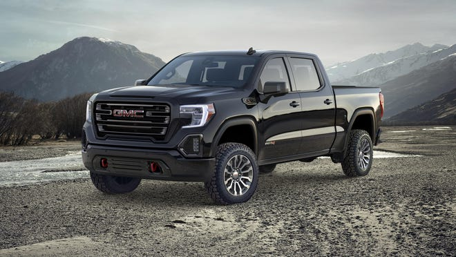 The 2019 Sierra has off-road tuned monotube shock absorbers and 18-inch wheels with all-terrain tires.