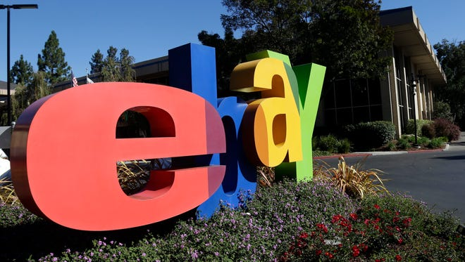 An eBay sign decorates the front of the company's headquarters in San Jose, Calif.