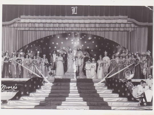 City Ball in Lafayette, 1939. King, Dan Olivier. Queen Rosemary Doucet Logan.